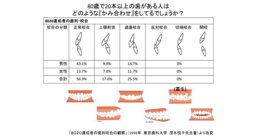 8020達成者の歯列咬合の観察